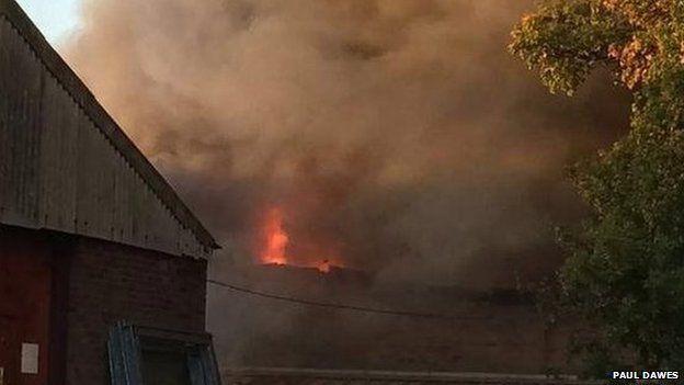 Scene of industrial estate fire