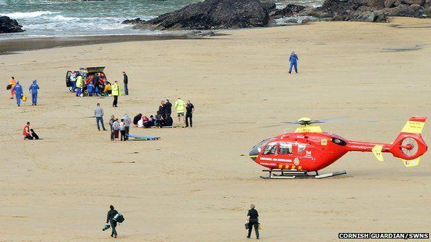 Rescue attempt at Mawgan Porth beach near Newquay