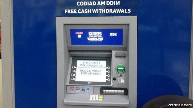 Cash point machine with wrong translation
