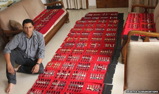 Ithichanda Ponnappa with his collection of HMT watches