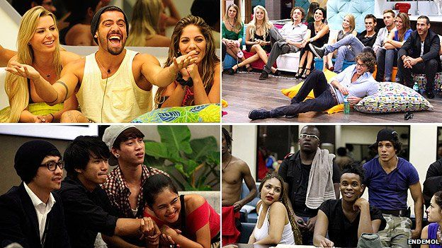 Clockwise from top left: Big Brother Brazil, Italy, South Africa and Vietnam