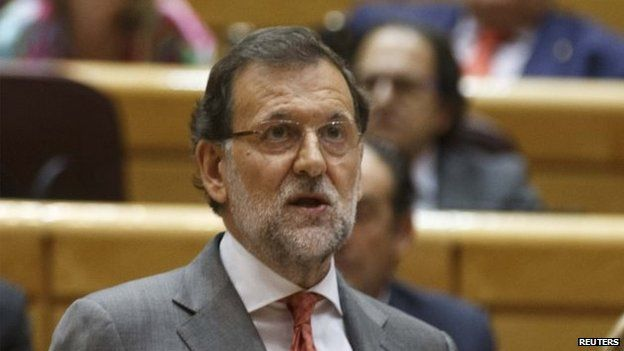Spain's Prime Minister Mariano Rajoy delivers a statement at the Senate in Madrid on 28 October, 2014.