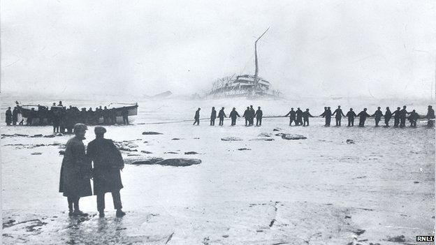 The Rohilla sinking and rescuers and a lifeboat on Whitby beach