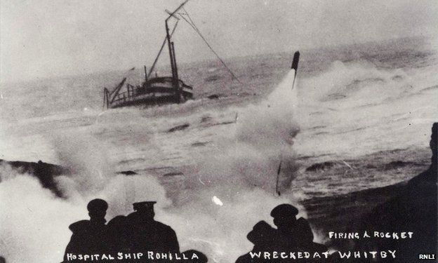 Rockets being fired from the shore at Whitby to try to secure a line to the doomed vessel Rohilla
