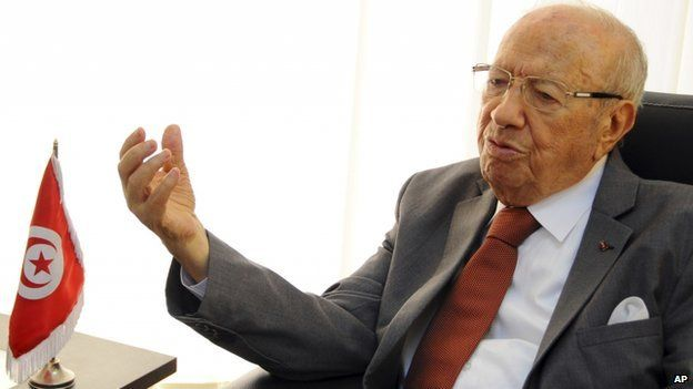 Beji Caid Essebsi, head of the Tunisian party Nida Tunis (Tunisia Calls), gestures during an interview in his office in Tunis.