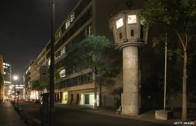 An original East German guard tower near Potsdamer Platz is now a tourist attraction (30 Oct)
