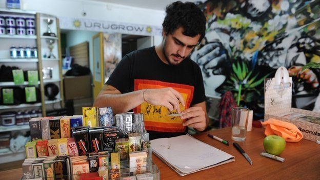 Juan Manuel, owner of the first shop dedicated to cannabis merchandising in Montevideo, rolls a joint on April 24, 2014.