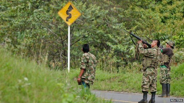 Farc fighters in the mountains of Caldono, Cauca province. 4 June 2013