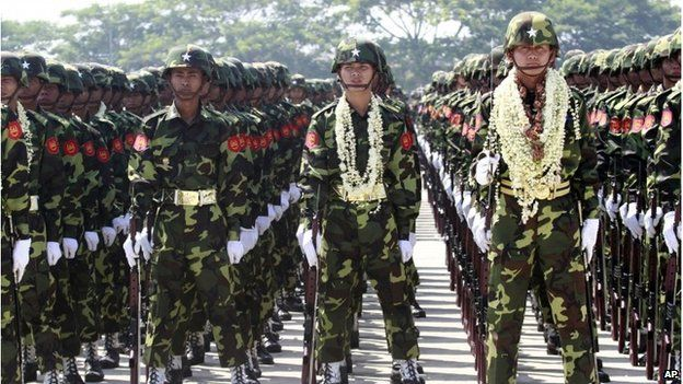 """Myanmar soldiers attend a ceremony marking the country""""s 67th Armed Forces Day in Naypyitaw, Myanmar, on Tuesday, March 27, 2012."""