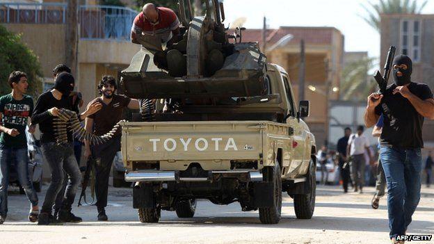 Armed civilians gather in Benghazi, Libya on 2 November 2014
