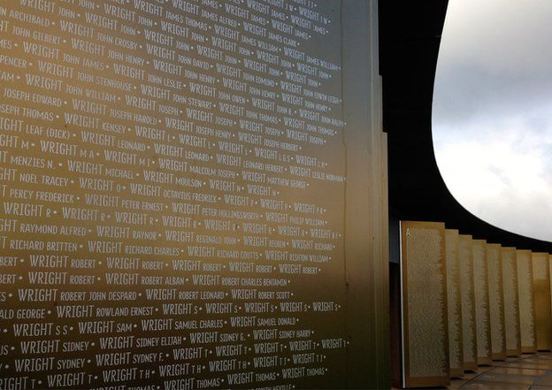 Some of the many thousands of names on the ring of remembrance