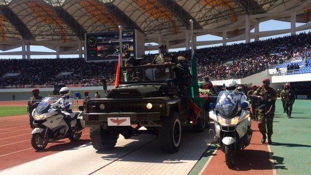 The coffin of Michael Sata being brought into the National Heroes Stadium in Lusaka, Zambia
