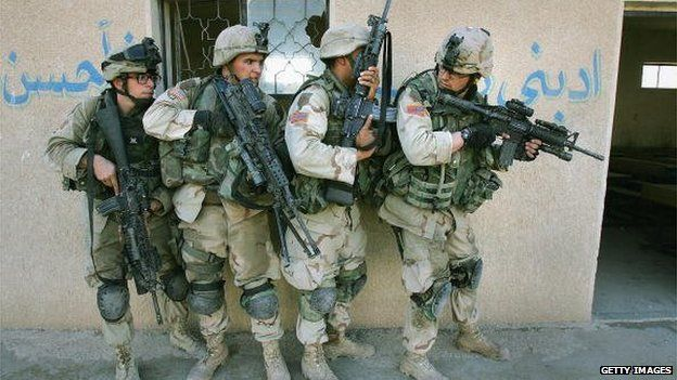 US clear abandoned houses of insurgent fighters in Falluja, Iraq on 10 November 2004
