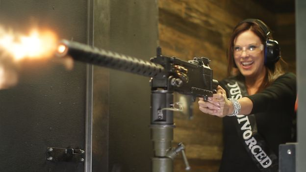 Wendy Lewis shooting her wedding dress