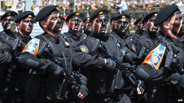 Soldiers of the breakaway Nagorno Karabakh, shown on parade in 2012