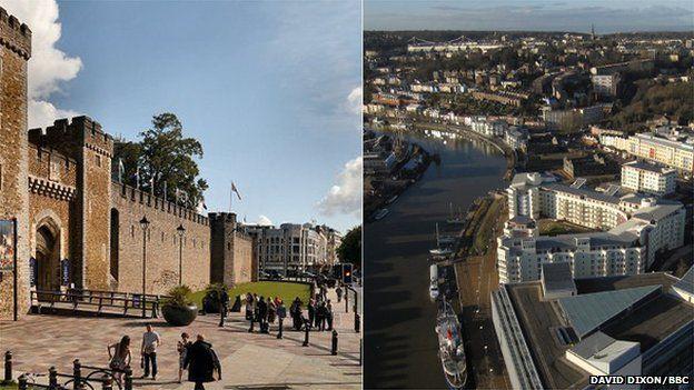 Cardiff and Bristol composite image
