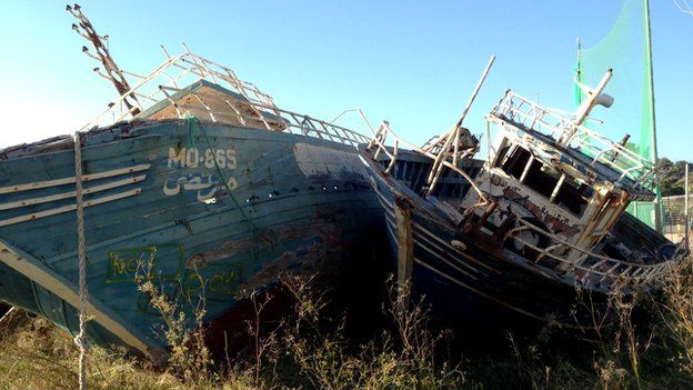 Boats from North Africa in Lampedusa