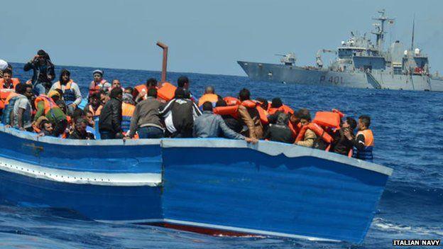 Migrants on a boat in Italian waters