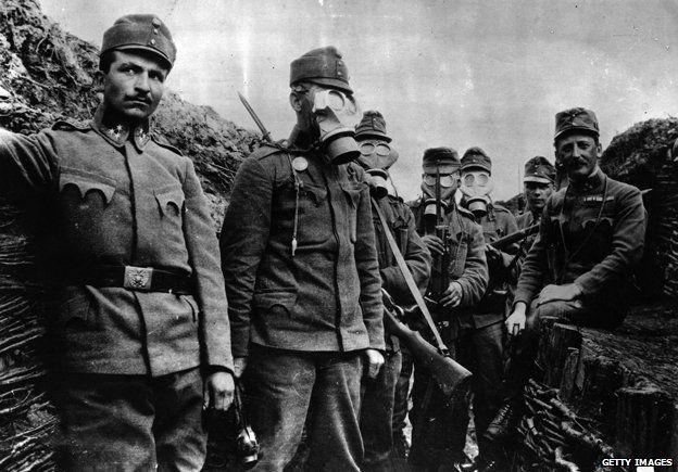Austrian gas masks in use