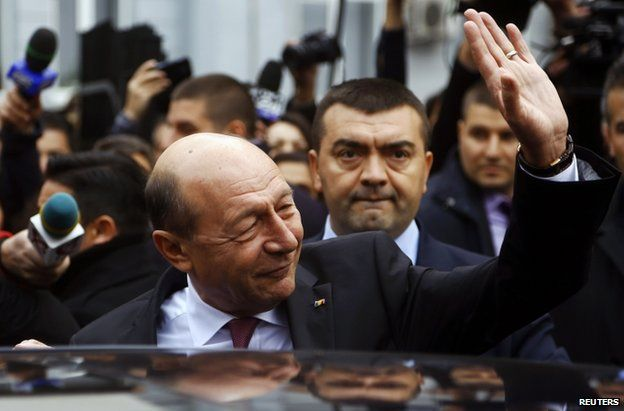 Traian Basescu after voting in Bucharest, 2 November