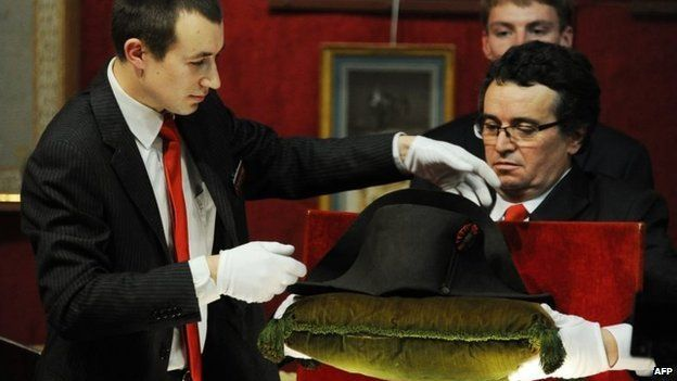 Napoleon's hat is set up prior to its auction in Fontainebleau, Nov 16