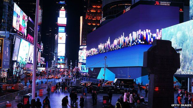 """Billed as Times Square""""s largest and most expensive digital billboard, a new megascreen is debuted in front of the Marriott Marquis hotel on November 18, 2014 in New York City"""