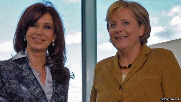 Argentina's Cristina Fernandez de Kirchner and Germany's Angela Merkel