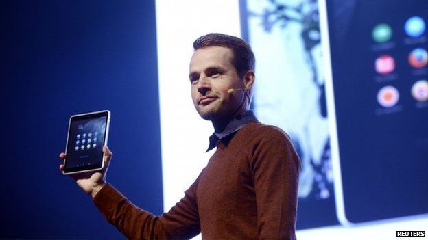 """Sebastian Nystrom, head of product business at Nokia Technologies, presents N1, Nokia""""s new Android tablet"""