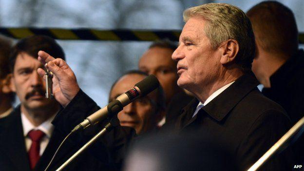 President Joachim Gauck at a ceremony marking the Velvet Revolution on 17 Nov