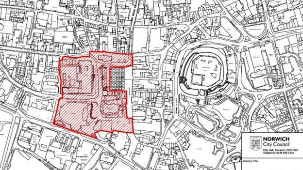 Norwich City Council map of proposed skateboard ban area