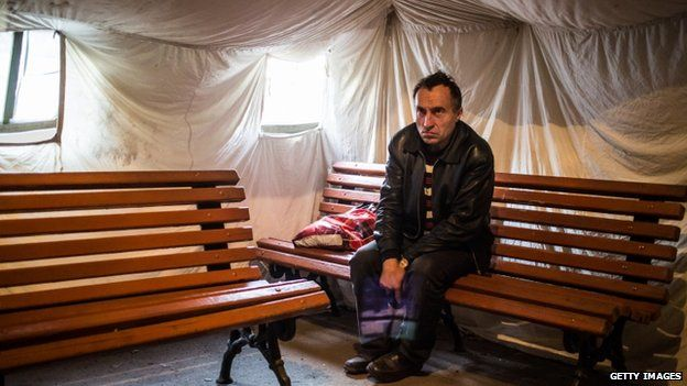 A man displaced by the fighting in eastern Ukraine in Dnipropetrovsk (Oct 2014)