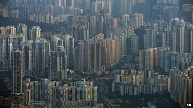 Apartment buildings and office blocks are seen clustered together in Hong Kong's Kowloon district