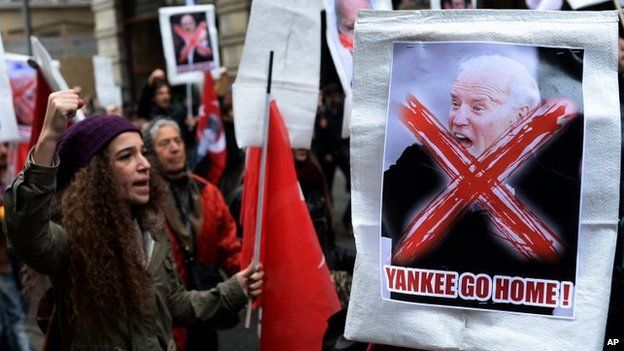 Turkish students stage a rally to protest against the visit of US Vice President Joe Biden in Istanbul, Turkey, 22 November 2014