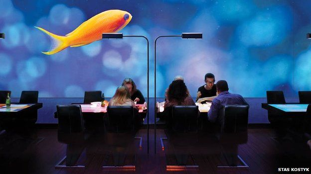 "Ukrainian diners at an ""interactive restaurant"""