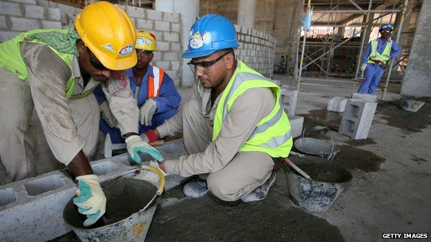 Construction workers in Qatar