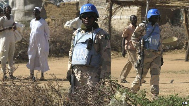 Peacekeepers from the UN-African Union mission to Darfur patrolling - November 2014