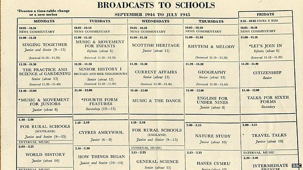 Broadcast to schools timetable