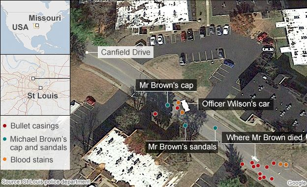 Map of place where Brown died