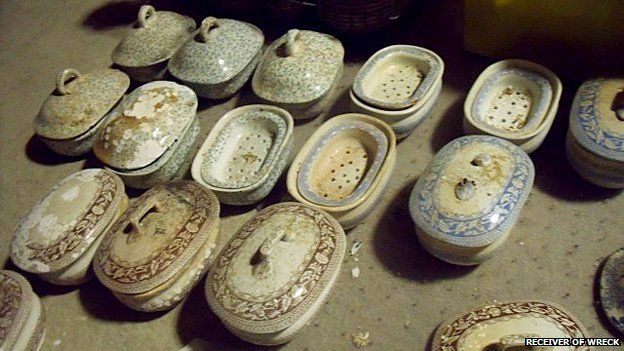 A number of 19th Century ceramic transfer print soap dishes handed to the Receiver of Wreck
