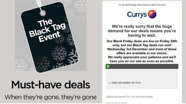 An error message on the Currys website