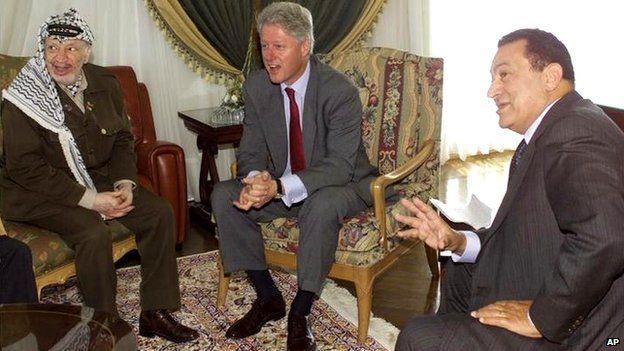 Yasser Arafat (left), Bill Clinton (centre) and Hosni Mubarak (17/10/2000)