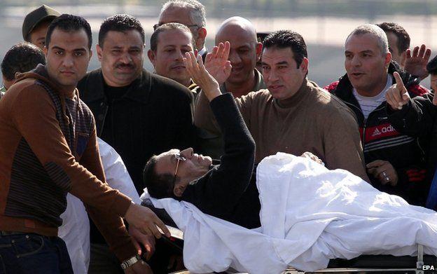 Hosni Mubarak after his retrial in Cairo, 29 November