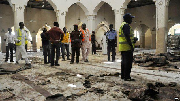 Inside Kano's central mosque, after a violent attack, on 29 November 2014