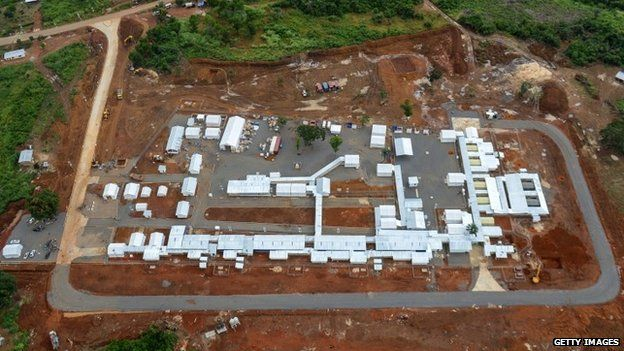 An aerial view of the Kerry Town Ebola Treatment Centre, on the outskirts of Freetown, Sierra Leone (21 November 2014)