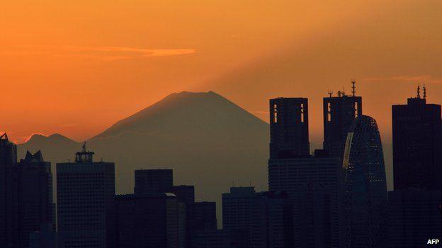 Sunset over Mount Fuji