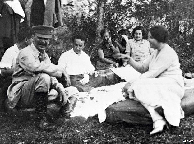 Stalin enjoying a picnic at his Dacha