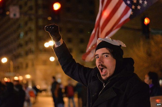 A protester in St Louis, Missouri, 3 December