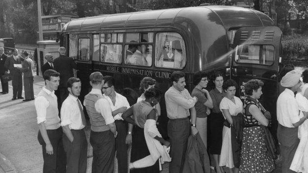 a vaccination van in London in the 1950s