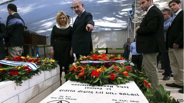 Prime Minister Netanyahu attending the service for John Henry Patterson with his wife