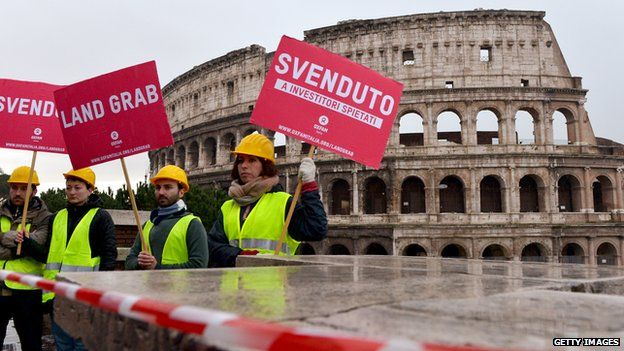 Protestors at the Coliseum in Rome